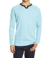 men's good man brand varsity v-notch long sleeve men's t-shirt, size medium - blue