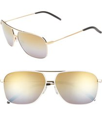 maui jim kami 62mm polarizedplus2 aviator sunglasses - gold w white/ dual mirror