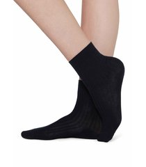 calzedonia - short ribbed socks with cotton and cashmere, 39-41, blue, women