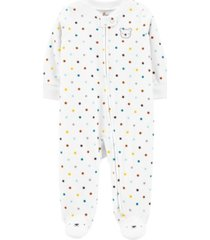 carter's baby boy or girl polka dot zip-up fleece sleep & play