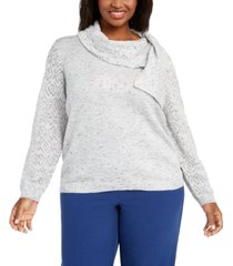 alfred dunner plus size lake geneva scarf-neck sweater