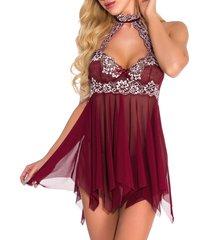 halter floral lace and mesh handkerchief cutout babydoll set