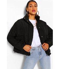 gewatteerde jas met hoge hals met zakdetail, zwart