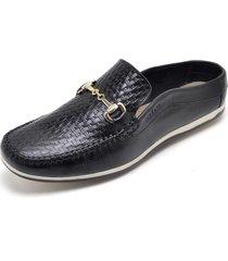 mule sapatãªnis sapatilha com gravata social confort - preto - masculino - couro - dafiti