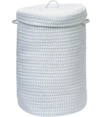 colonial mills ticking solid braided hamper with lid