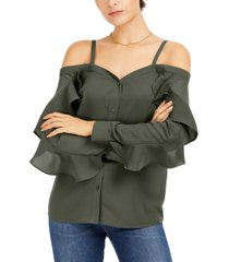 bar iii off-the-shoulder ruffle-trim top, created for macy's