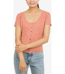hippie rose juniors' button-trimmed rib-knit top