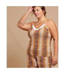 pijama chopp animal print plus size alças finas feminino