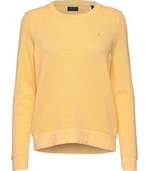 cotton pique c-neck stickad tröja gul gant