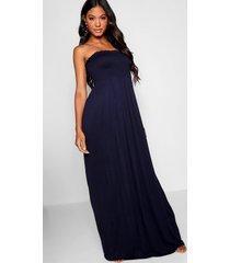 geplooide strapless maxi jurk, marineblauw