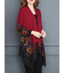 donna vintage cardigan scialle con stampa frange