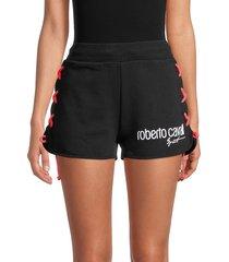 roberto cavalli sport women's side-laced fleece shorts - black - size l