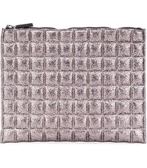 no ka' oi quilted metallic pouch - pink