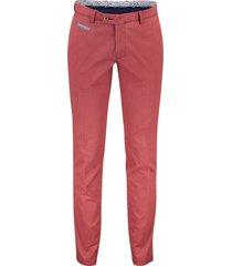 portofino slim fit broek flatfront rood