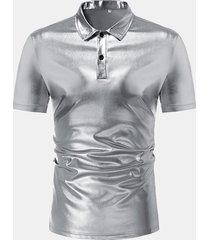 night club shiny camicia abito manica corta fit fit sottile camicia per uomo