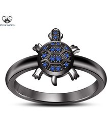 blue sapphire 18k black gold plated 925 silver turtle new *tortoise* beach ring