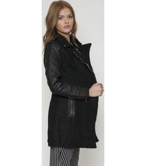 abrigo eco cuero deluxe negro 609 seisceronueve