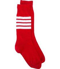 thom browne lightweight cotton socks - red