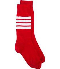thom browne lightweight stripe detail socks - red