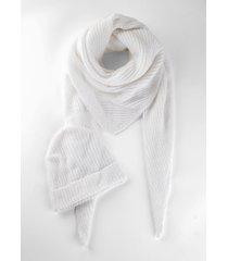 sciarpa e berretto in maglia sostenibili (set 2 pezzi) (bianco) - bpc bonprix collection