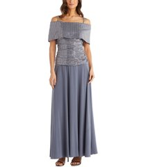 r & m richards cold-shoulder sequinned gown