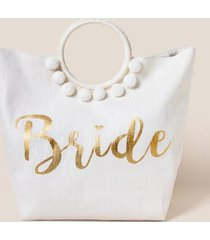 bridal circle handle tote - ivory