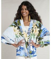 kimono feminino estampado de praia off white