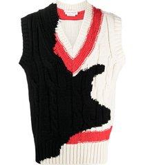 alexander mcqueen v-neck intarsia-knit vest - neutrals