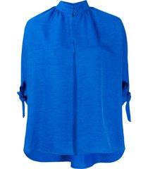 christian wijnants high neck slub shirt - blue