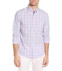 men's bonobos summerweight slim fit check sport shirt, size large r - pink