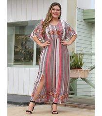 plus talla rojo multi slit diseño medias mangas con estampado tribal vestido