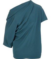 teal blue asymmetric draped blouse