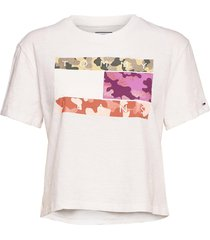 tjw camo flag tommy t-shirts & tops short-sleeved vit tommy jeans