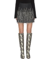 bead tassel embellished mini skirt