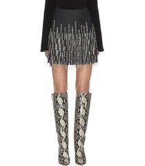bead tassel embellished mini skirt