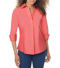 foxcroft taylor fitted non-iron shirt, size 18 in scarlet flame at nordstrom