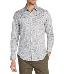 tallia men's slim-fit performance stretch ornate floral long sleeve shirt
