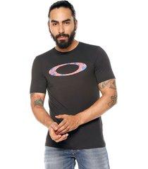 camiseta negra-azul-blanca oakley