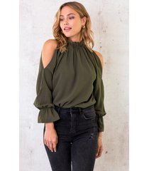 cold shoulder blouse army