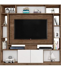 estante home painel para tv até 55 pol. divisor de ambientes duo avelã/cinza cristal/preto móveis leão