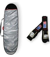capa prancha longboard refletiva acolchoada 9'0 a 9'4 + fita rack 5m - maori extreme