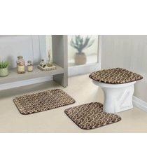 jogo banheiro guga tapetes safari 03 pçs girafa