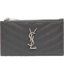 saint laurent monogram quilted credit card holder - grey
