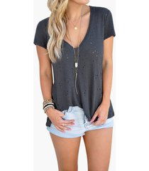 v-neck hollow out short sleeves t-shirts in grey