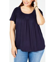 style & co plus size solid pleat-neck top, created for macy's