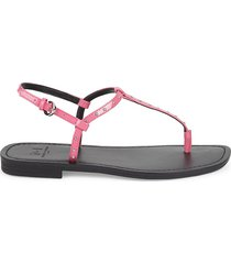 marc fisher ltd women's studded patent leather thong sandals - black - size 5.5