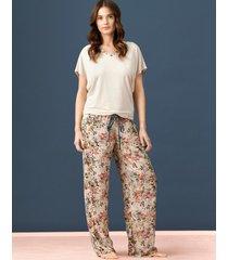 spodnie luźne wiskozowe  w kwiaty