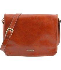tuscany leather tl141254 tl messenger - borsa a tracolla 2 scomparti - misura grande miele