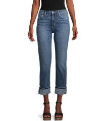 joe's jeans women's mid-rise straight cropped jeans - silver lake blue - size 24 (0)