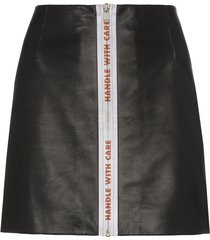 heron preston reflective tape leather mini skirt - black